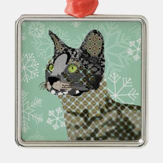Natal Orna do floco de neve do verde do gato do Ornamento Quadrado Cor Prata