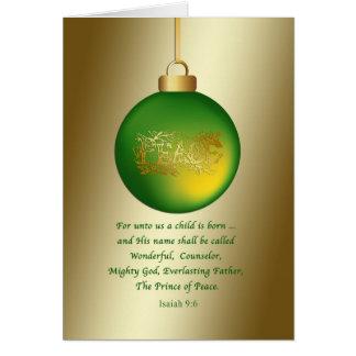 Natal, ornamento verde da paz, religioso cartão comemorativo