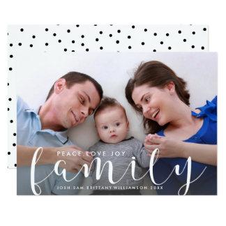 Natal ou ano novo de foto de família feliz do convite 12.7 x 17.78cm