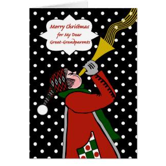 Natal para o excelente - avós, trombeta na neve cartão comemorativo