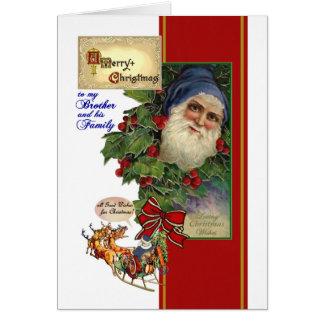 Natal para o irmão & a sua família - papai noel do cartão comemorativo