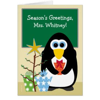 Natal para o pinguim bonito do professor na sala cartão comemorativo