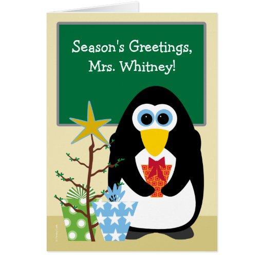 Natal para o pinguim bonito do professor na sala d cartao