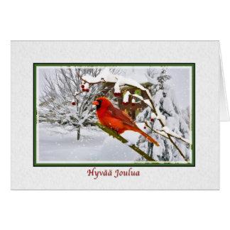 Natal, pássaro finlandês, cardinal, neve, cartão