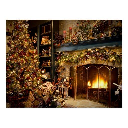 Natal pela lareira cartão postal