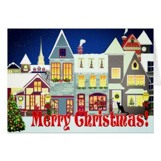 Natal personalizado da cena da rua da cidade cartão comemorativo