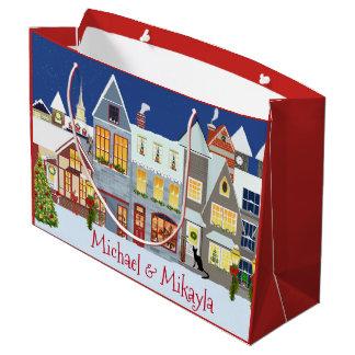 Natal personalizado da cena da rua da cidade sacola para presentes grande