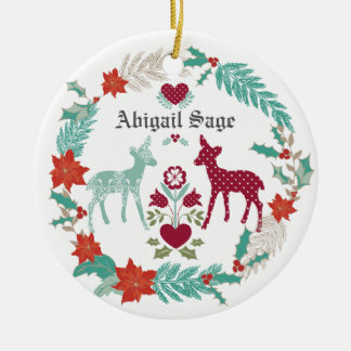 Natal personalizado do bebê dos cervos e da ornamento de cerâmica redondo