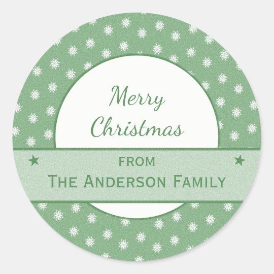 Natal personalizado do verde do feriado adesivo redondo