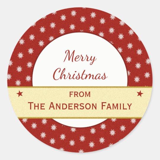 Natal personalizado do vermelho do feriado adesivo redondo