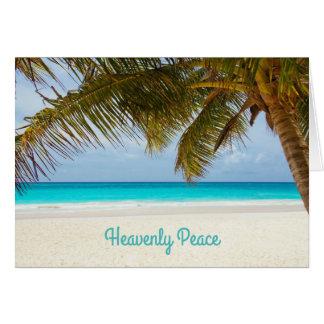 Natal perto da praia da palmeira celestial da paz cartão comemorativo