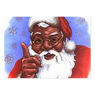 Natal preto de Papai Noel do afro-americano Cartão De Visita Grande