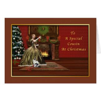 Natal, primo, antiquado cartão comemorativo