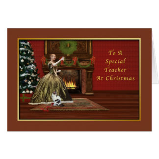 Natal, professor, antiquado cartão comemorativo