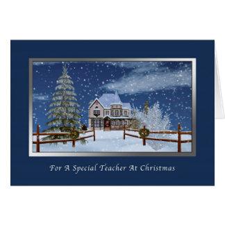Natal, professor, cena nevado do inverno cartão comemorativo