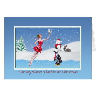 Natal, professor da dança, bailarina, inverno, cartão comemorativo