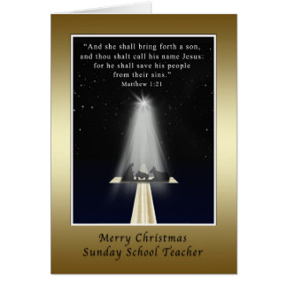 Natal, professor de catequese, religioso cartão comemorativo