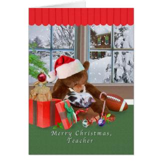 Natal, professor, gato, urso de ursinho cartão comemorativo