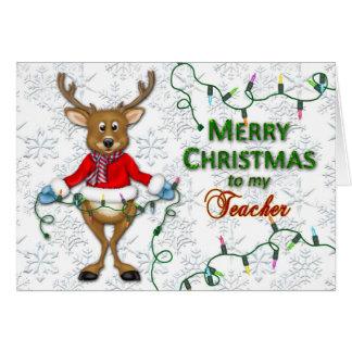 Natal - professor - rena/luzes cartão