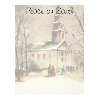 Natal religioso do vintage, igreja, neve, inverno papeis de carta personalizados