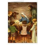 Natal religioso do vintage, natividade, bebê Jesus Cartoes