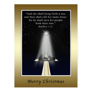 Natal, religioso, natividade e cruz cartão postal