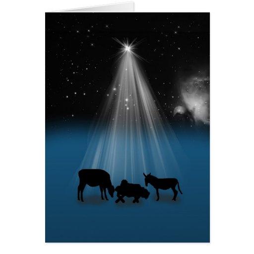 Natal, religioso, natividade, estrelas, cartão