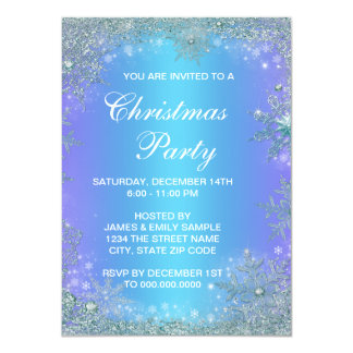 Natal roxo congelado do floco de neve da cerceta convite 11.30 x 15.87cm
