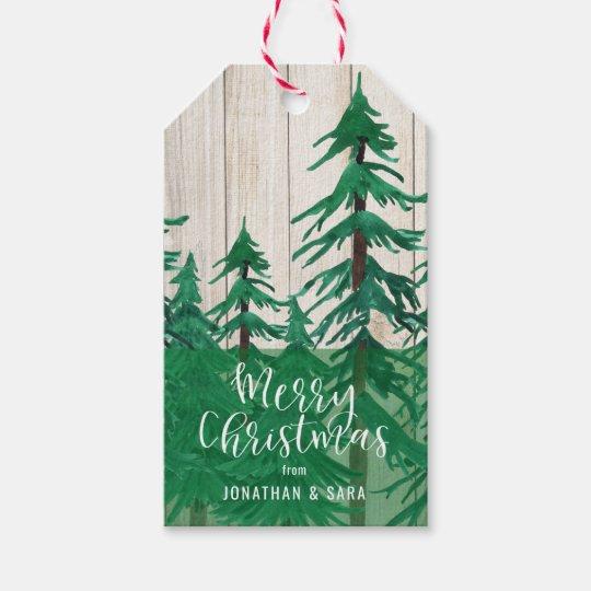 Natal rústico dos pinheiros da aguarela