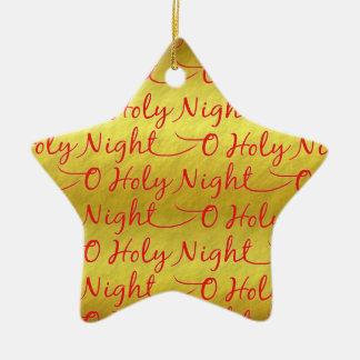 Natal santamente da noite da folha de ouro ornamento de cerâmica estrela