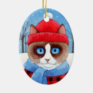 Natal Snowshow ou ornamento do gato de Ragdoll