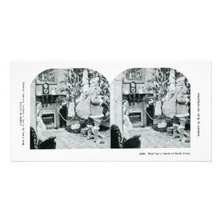 Natal Stereoview - vintage Cartão Com Foto