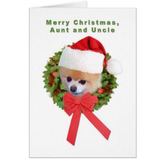 Natal, tia e tio, cão de Pomeranian, papai noel Cartão