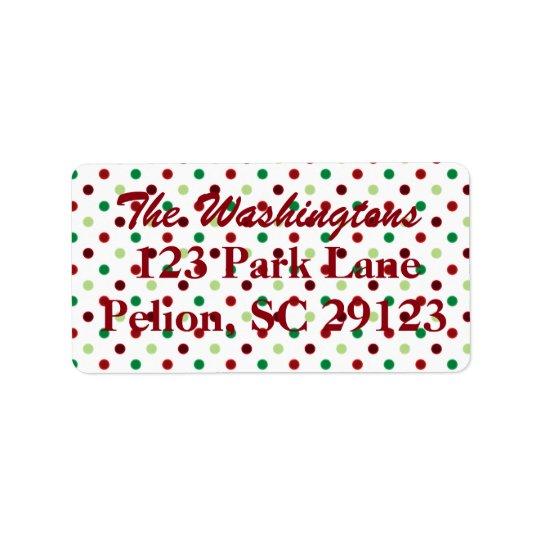 Natal verde & branco vermelho das bolinhas etiqueta de endereço