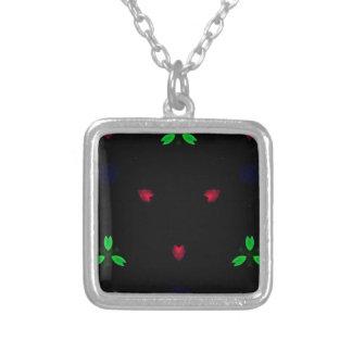 Natal verde vermelho no fundo preto colar banhado a prata