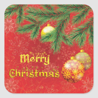 Natal vermelho bonito inspirado adesivo quadrado