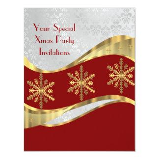 Natal vermelho do branco & do ouro convite 10.79 x 13.97cm