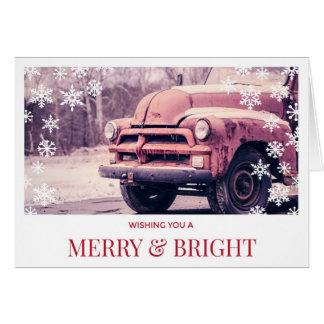 Natal vermelho do caminhão do vintage cartão comemorativo