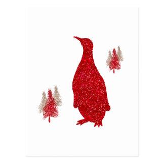 Natal vermelho dos pinguins do brilho do falso do cartão postal