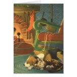 Natal vintage, animais do sono pela lareira cartões