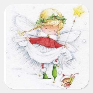 Natal vintage anjo e etiqueta do rato