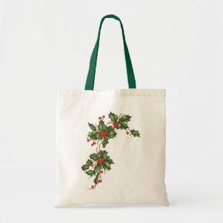 Natal vintage, azevinho com bagas vermelhas bolsa de lona