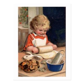 Natal vintage - biscoitos do cozimento da menina cartão postal