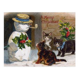 Natal vintage boneco de neve & cartão dos gatinhos