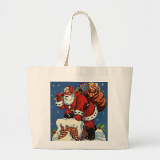 Natal vintage, brinquedos da chaminé de Papai Noel Bolsa Para Compras