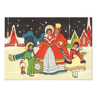 Natal vintage, canções de natal de uma música do convite 12.7 x 17.78cm