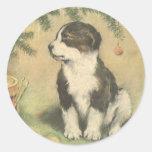 Natal vintage, cão de filhote de cachorro bonito adesivos em formato redondos
