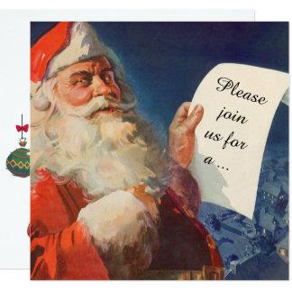 Natal vintage, convite retro de Papai Noel