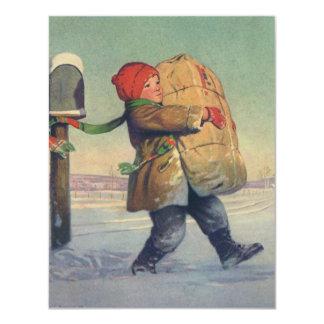 Natal vintage, criança com grande pacote convite 10.79 x 13.97cm