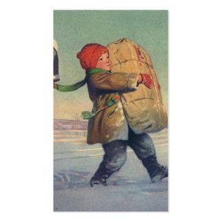 Natal vintage, criança com pacote cartões de visitas